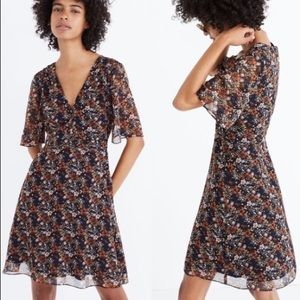Orchard Flutter-Sleeve Dress in Prairie Blossoms